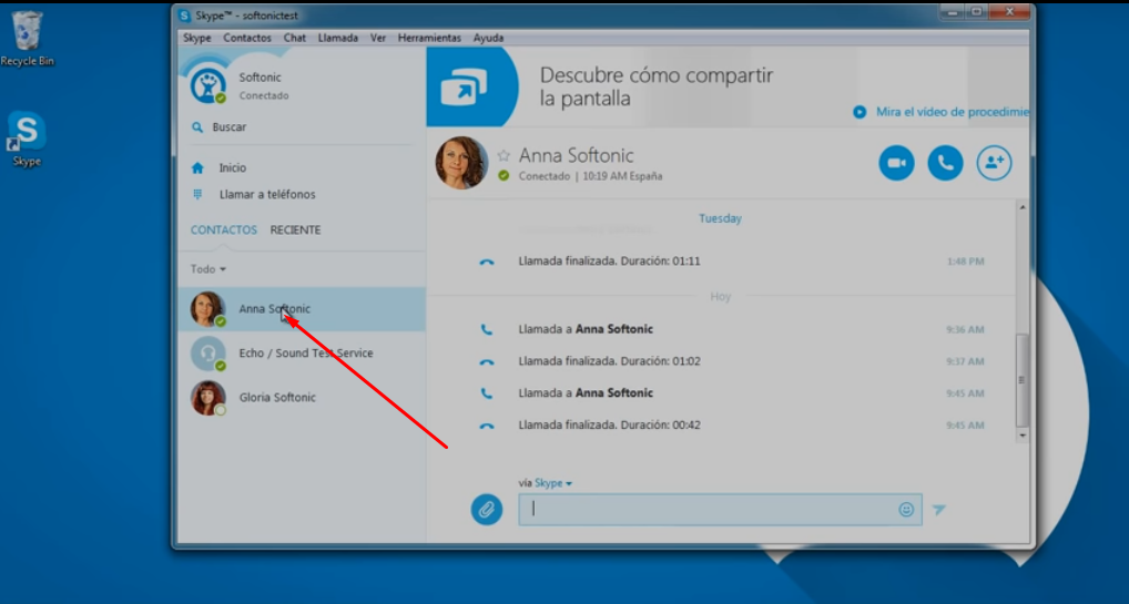 Como compartir pantalla en Skype